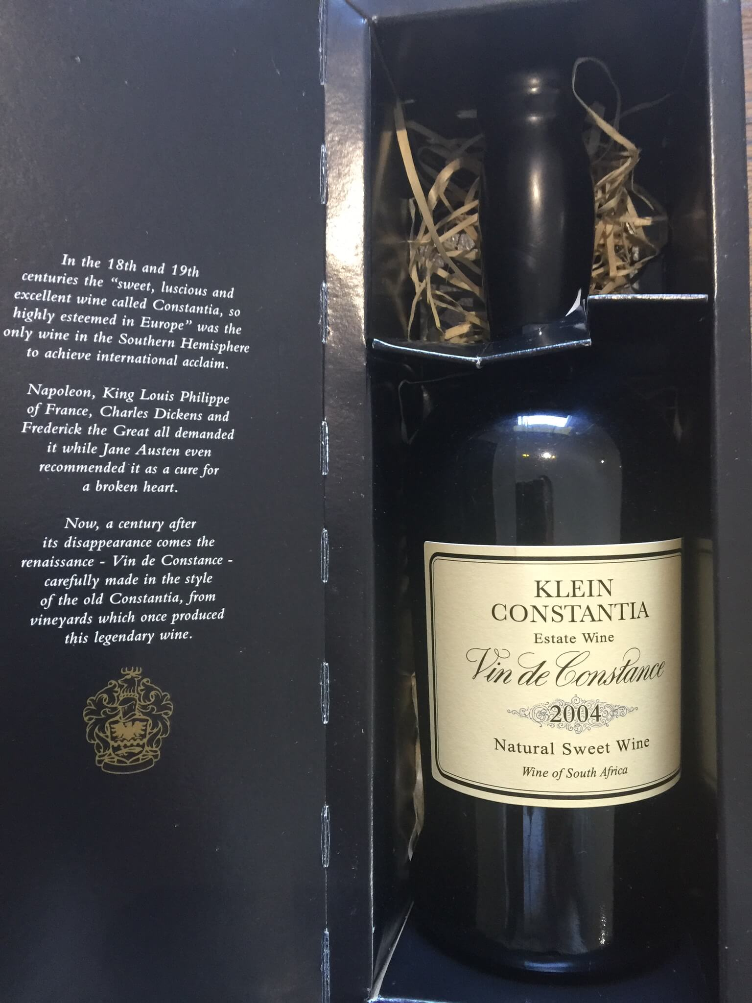 a bottle of Vin de Constance in its packaging