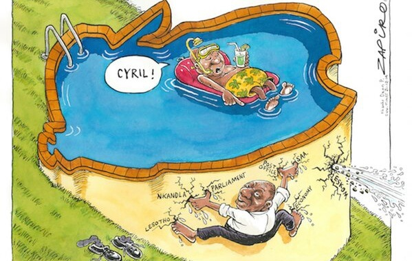 a cartoon of jacob zuma relaxing in his pool with Cyril Ramaphosa attempting to plug many holes in the dam wall
